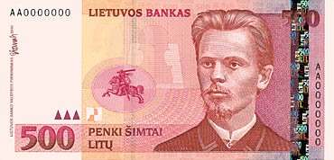 500 Lithuanian litas banknote (issued 2000)